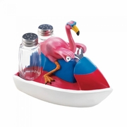 Flamingo Jet Skiing Salt and Pepper Shakers
