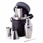 Flask Bar Set in Black Leather Case  10pc