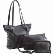 Fleur De Lune® 3pc Black Faux Leather Purse Set