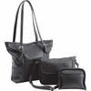 Fleur De Lune  3pc Black Faux Leather Purse Set