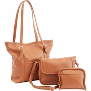 Fleur De Lune 3pc Tan Faux Leather  Purse Set