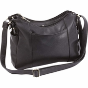 Fleur de Lune  Ladies' Black Faux Leather Shoulder Purse