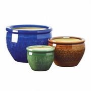 Flower Pot  Earthenware Trio Jewel-Tone    FREE SHIPPING