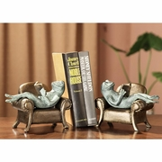 Frogs Reading on Sofa Bookends   FREE SHIPPING