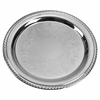 "Gadroon Silverplated Tray with Embossed Centers 14"" Dia"