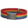 "Gay Pride Canvas Belt with Antiqued Brass Buckle  1 1/2""w"