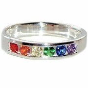 Gay Pride CZ Rainbow Stones Ring Sterling Silver