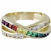 Gay Pride Diamond Cut Crystal and CZ Ring  SIZE 11 ONLY