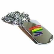 Gay Pride Dog Tag Rainbow Lightning Bolt