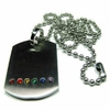 "Gay Pride Dog Tag Stainless Steel Pendant with 18"" Steel Ball Chain"