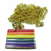 Gay Pride Flag Enameled Pendant with Gold-Tone Chain