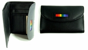 Gay Pride Leather Mini ID  Clutch Wallet