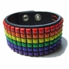Gay Pride Leather Rainbow Stud Bracelet