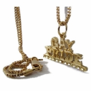 Gay Pride Pendant with Chain Gold Plated