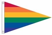 "Gay Pride Rainbow Nylon Pennant 18"" x 12"""