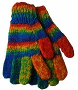 Gay Pride Wool Gloves Variegated Pattern