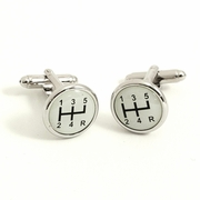 Gear Shifter Design  Rhodium Plated Cufflinks
