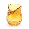 "Glass Owl Amber Vase 4.3"" h."