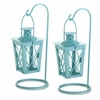 Hanging Railroad Lantern Pair Baby Blue