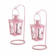 Hanging Railroad Lanterns Pair Pink