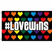 Hashtag Love Wins Flag 3' x 5' Polyester