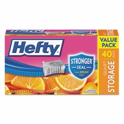 Hefty Slider Bags, Storage, 1 qt, 1.5 mil, Clear, 40/Box, 9 Boxes/Case