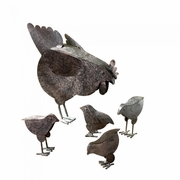 Hen with Chicks Metal Sculpture