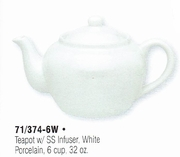 HIC Teapot with Stainless Steel Infuser  White 6cup