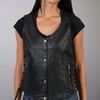 Hot Leathers Ladies Black Lambskin Vest with Side Laces