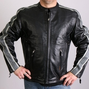 Hot Leathers Leather Jacket with Grey Arm Stripes