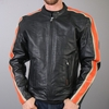 Hot Leathers Men's Leather Jacket with Orange and Cream Arm Stripes
