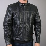 Hot Leathers Men's Leather Jacket with Reflective Piping