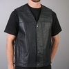 Hot Leathers Men�s Leather Side Lace-up Vest with 2 Gun Pockets