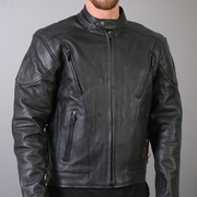 Hot Leathers Vented Leather Motorcycle Jacket Black