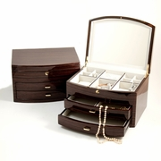 Jewelry Box 2 Drawer Ebony Zebra Wood Piano Finish