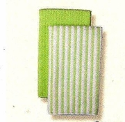 Kitchen Towels Microfiber  Stripe/Solid  4/Set   Green