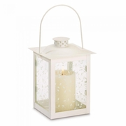 "Large Ivory Color Glass Lantern  8""h"