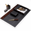 "Leather and ""Burl Wood "" Desk Set 6pc."
