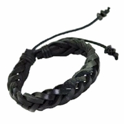 Leather Braid Bracelet  Black Leather