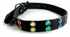 Leather Pet Collar with Rainbow Jewels  Medium 12-17in