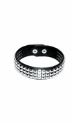 "Leather Studded Latigo Armband or Collar with Snaps 1-1/4""w  LARGE  16-17in"