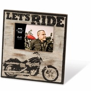 Let's Ride Motorcycle Theme Wood Picture Frame  6 x 4