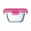 Luminarc Baby Pure Box Round with  Pink  Lid  6.75oz