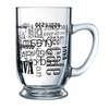 Luminarc Coffee Words in Black Bolero Mug  16 oz.