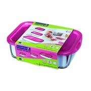 Luminarc Keep n' Box 3 PC Set w/Raspberry Lids