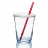 "Luminarc Party Cup  w/ Lid & 7"" Red Straw 16 oz"