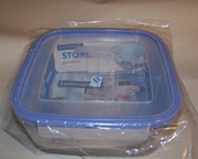"Luminarc Pure Box Square Glass Dish with Snap-lock Lid  6.7""sq x 2.6"""