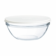 Luminarc Stackable Bowl with White Lid 4-1/2""