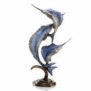 Marlin and Sailfish Brass Sculpture   FREE SHIPPING