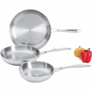 Maxam  3pc T304 Stainless Steel Fry Pan Set